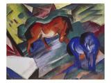 Röd och blå häst, 1912 Gicléetryck av Franz Marc