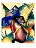 Zwei Pferde Rot Und Blau, 1912 Giclée-Druck von Franz Marc