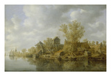 Bauerngehoefte Am Fluss, 1636 Giclee Print by Jan Van Goyen