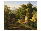 Italienische Landschaft Bei Subiaco, 1830 Giclee Print by Ernst Fries