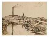 Factory and Laundresses at La Roubine Du Roi Giclee Print by Vincent van Gogh