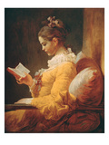 Young Girl Reading, about 1776 Giclée-tryk af Jean-Honoré Fragonard