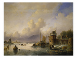 Wintery River Landscape with Tower and Skaters Giclee Print by Jan Josef Spohler
