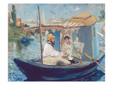 The Boat, (Claude Monet in His Floating Studio), 1874 Giclee Print by Édouard Manet