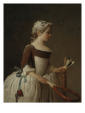 Young Girl Playing Badminton Print by Jean-Baptiste Simeon Chardin