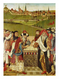 Heiligenthaler Altarpiece with Oldest known View of Lueneburg (Exterior of Left Wing) Giclee Print by Hans Bornemann
