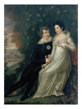 Crown Prince Ludwig (Ludwig I.) of Bavaria with Princess Therese in Front of Castle Giclee Print by  Berg F.T.