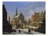 Wintery City Scene Giclée-Druck von Jan Hendrik Verheyen