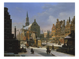 Wintery City Scene Giclee Print by Jan Hendrik Verheyen
