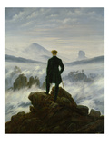 The Wanderer Above the Sea of Fog, about 1818 Giclée-tryk af Caspar David Friedrich