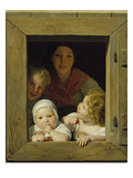 Peasant Woman with Three Children at the Window, 1840 Giclee Print by Ferdinand Georg Waldmüller