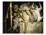 Affen Als Kunstrichter, um 1889 Giclée-Druck von Gabriel Von Max