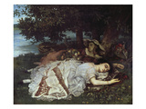 Girls on the Banks of the Seine, 1856/57 Giclee Print by Gustave Courbet
