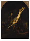 The Raising of the Cross, about 1633 Poster by  Rembrandt van Rijn