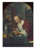 Girl Eating Oysters, about 1658-60 Giclée-tryk af Jan Havicksz. Steen