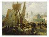 Fish Market in Ostend, 1876 Reproduction proc&#233;d&#233; gicl&#233;e par Andreas Achenbach