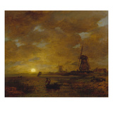Evening Atmosphere at the Dutch Coast with Windmills, about 1860/70 Reproduction proc&#233;d&#233; gicl&#233;e par Andreas Achenbach