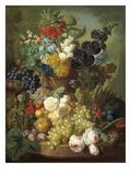 Naturaleza muerta con fruta y flores Pósters por Jan van Os