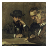 Self-Portrait with Hildebrand and Grant, 1873 Giclee Print by Hans Marées