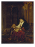 Die Prophetin Hannah Im Tempel, Samuels Gebet Abhoerend, 16(50) Posters by  Rembrandt van Rijn