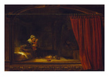 Holy Family with a Curtain (So Called Holzhackerfamilie), 1646 Giclee Print by  Rembrandt van Rijn