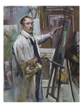 Self-Portrait in Front of the Easel, 1914 Poster by Lovis Corinth