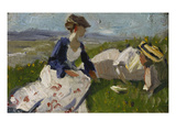 Two Women on a Hill (Maria Marc and Marie Schnuer), 1906 Giclee Print by Franz Marc