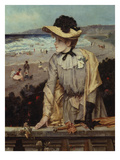 Young Woman at the Beach (Or: Parisian with Sea-Landscape as Backdrop) Print by Alfred Emile Léopold Stevens