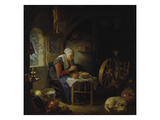 Old Woman at Prayer before Her Meal, about 1645 Posters by Gerrit Dou