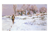 Hunting in Winter Near Buederich Giclee Print by Hugo Muhlig