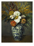 Dahlias in a Delft Vase, 1873 Giclee Print by Paul Cézanne