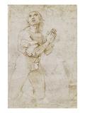 Figurenstudie Eines Betenden Jungen Mannes. Zeichnung Affiches par  Raphael