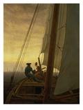 Caspar David Friedrich - On Board a Sailing Ship, 1819 Digitálně vytištěná reprodukce