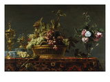 Grapes in a Basket and Roses in a Vase Giclee Print by Frans Snyders
