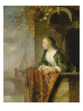 Young Woman on a Balcony, about 1665 Giclee Print by Gerrit or Gerard Dou