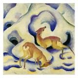 Rehe Im Schnee, 1911 Impression giclée par Franz Marc