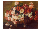 Still-Life with Peonies, 1872 Giclée-tryk af Pierre-Auguste Renoir