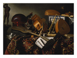 Musical Instruments, Sheets of Music and Books Giclee Print by Bartolomeo Bettera
