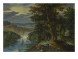 Wooded River Landscape with Walkers and Sailing Boats Giclee Print by Marten Ryckaert