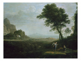 Hagar and Ismael in the Desert Poster by Claude Lorrain