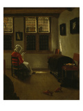 Woman Reading Poster by Pieter Janssens Elinga