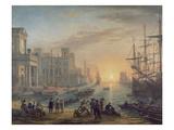 Claude Lorrain - Günbatımında Rıhtım, 1639 - Giclee Baskı