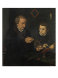 Johannes Neudoerfer the Elder (1497-1563) with His Son Giclee Print by Nicolas Neufchatel