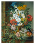 Great Flower Painting with Fruits, Birds and Insects, 1835 Giclee Print by Josef Schuster
