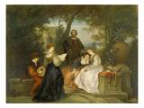 Italian Garden Scene, 1868 Giclee Print by Ludwig von Hagn