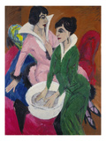 Two Women with a Washbasin (The Sisters), 1913 Prints by Ernst Ludwig Kirchner