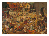 Der Kampf Zwischen Fasching Und Fasten, 1559 Wydruk giclee autor Pieter Bruegel the Elder