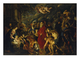 Adoration of the Magi, 1608 and 1628/29 (Enlarged) Giclée-tryk af Peter Paul Rubens