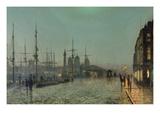 John Atkinson Grimshaw - The Hull-Docks by Night Digitálně vytištěná reprodukce