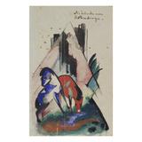Traenke Am Rubinberge, 1913. Postkarte an Else Lasker-Schueler Giclee Print by Franz Marc